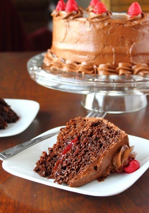 Fudge Raspberry Cake
