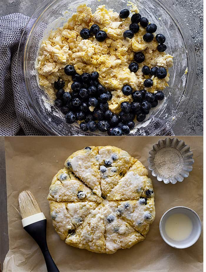 Two pictures showing the blueberries being added to the scones then on a baking sheet cut and topped with sugar.