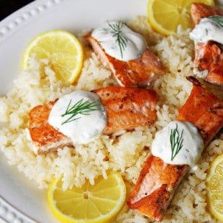 Salmon and Lemon Rice with Dill Sauce