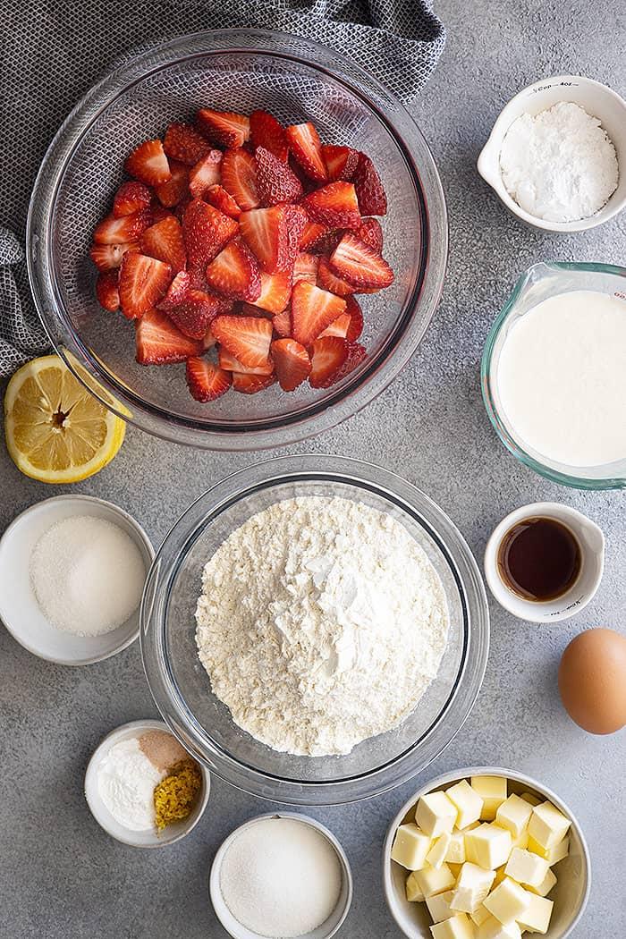 Ingredients to make strawberry shortcake.