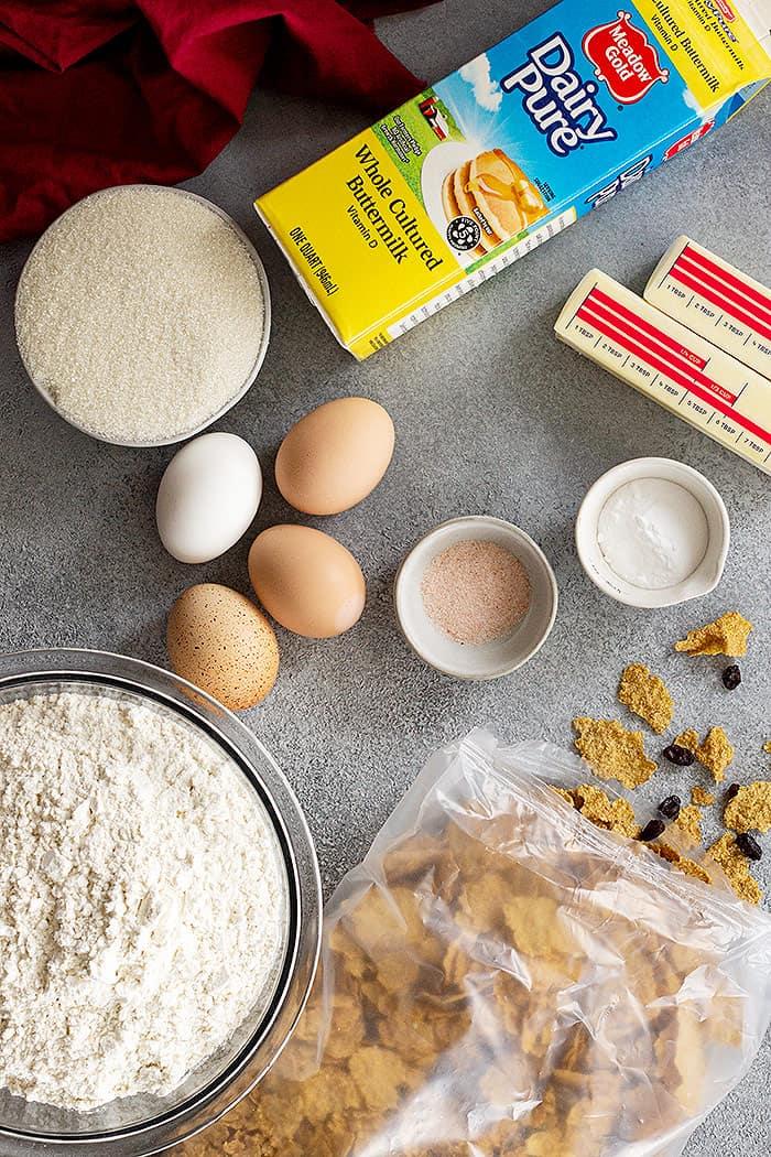 Ingredients for raisin bran muffins.