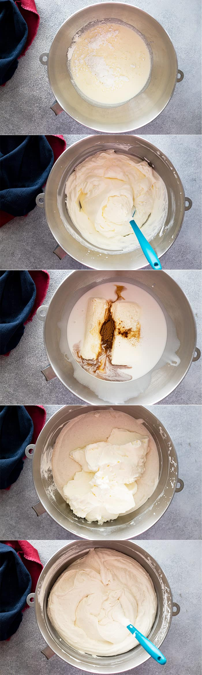 Pictures showing how to make the coconut cheesecake filling.