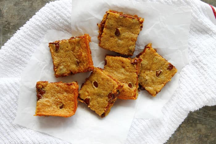 Banana Peanut Butter Chocolate Chip Blondies