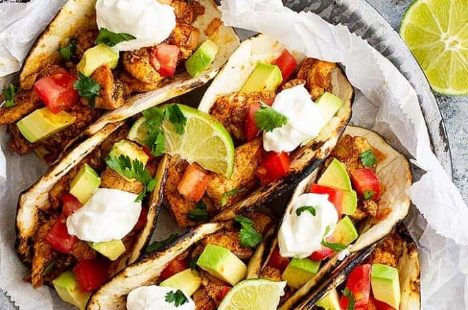 Spicy Chicken Tacos -are a quick and easy weeknight meal! They take less than 30 minutes to make, have clean ingredients, and can please the whole family!