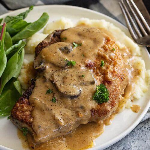 pork chop mushroom potato recipe Pork Chops in Mushroom Gravy
