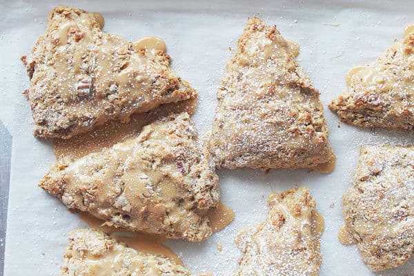 Banana Pecan Scones with Caramel Icing