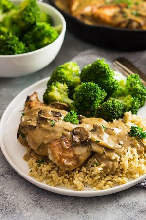 This Chicken in Garlic Mushroom Cream Sauce is a great weeknight meal! It's done in 30 minutes and is big on flavor!