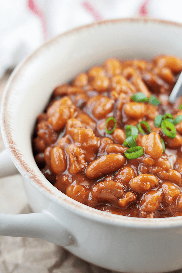 These Bacon Baked Beans are made from scratch in the slow cooker. | Countryside Cravings