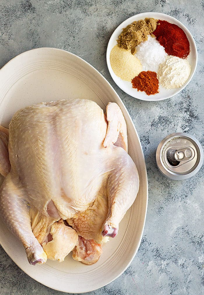 Picture of all the ingredients for Beer Can Chicken