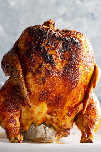Beer can chicken fresh off the grill.