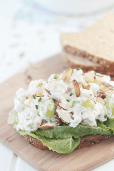 This Chicken Salad is full of crunchy veggies and sweet grapes surrounded by a creamy dressing.