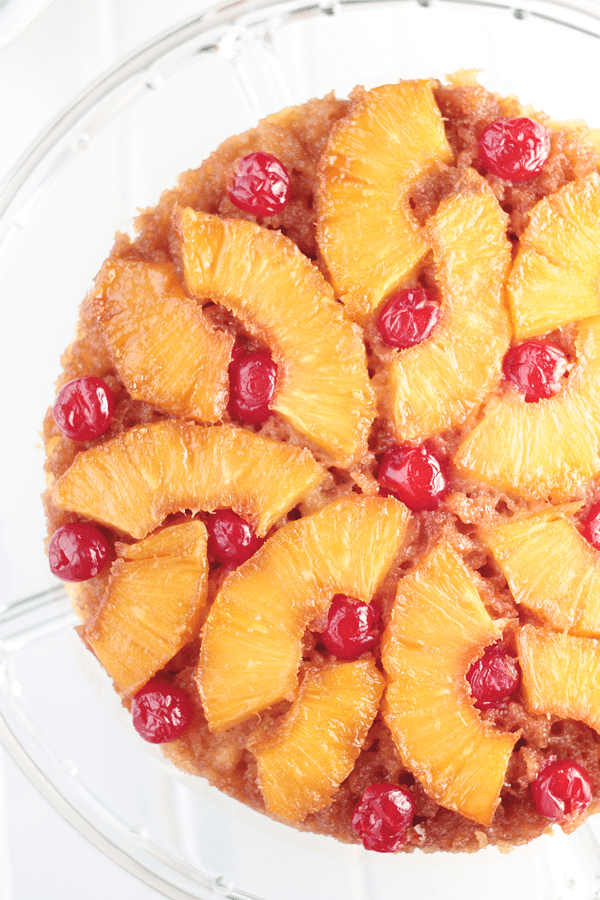 This Pineapple Upside Down Cake is full of caramelized pineapple slices on top of a homemade cake.