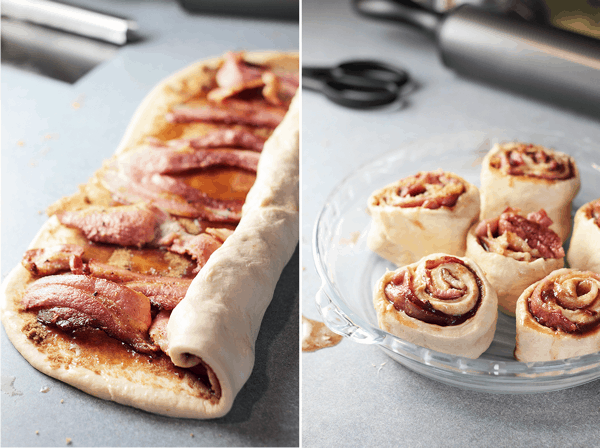These Bacon Maple Cinnamon Rolls would be a great breakfast for Father's Day! | Countryside Cravings