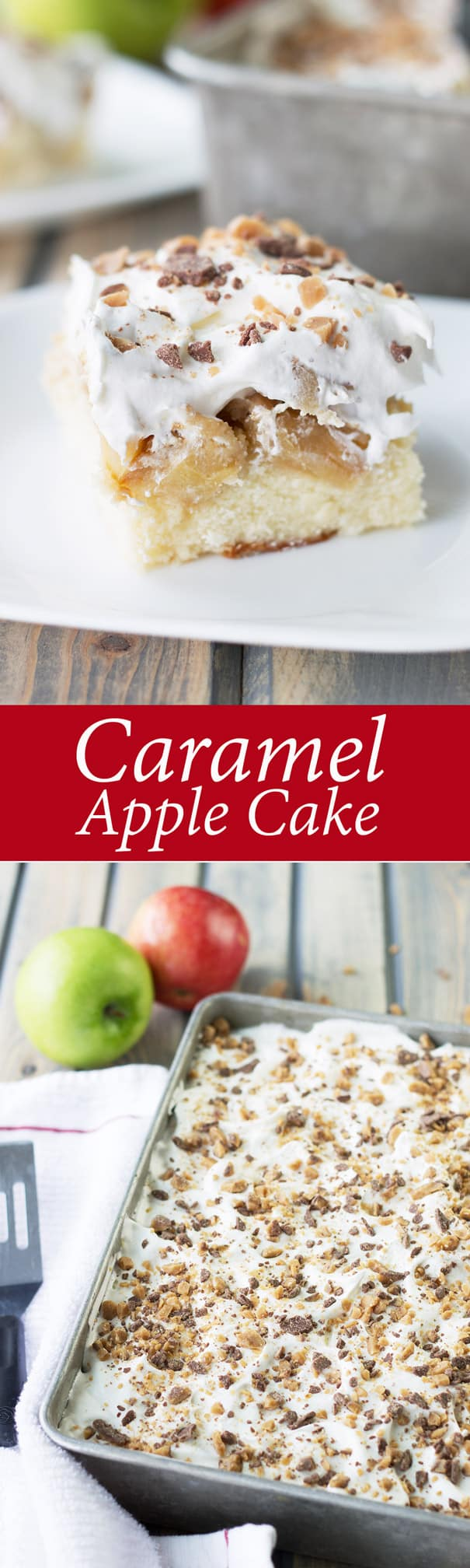 This Caramel Apple Cake is moist and full of caramel apples! | Countryside Cravings