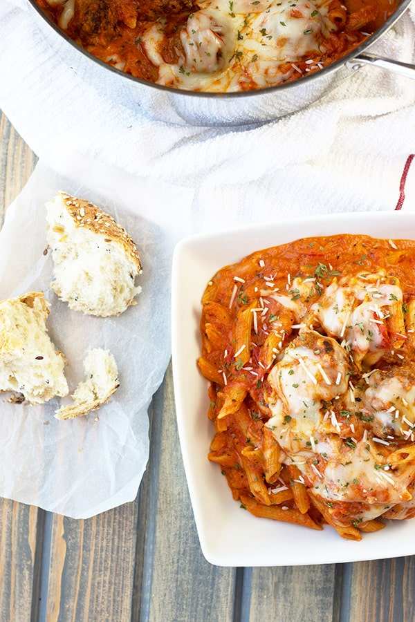 These Meatballs and Penne in Creamy Marinara Sauce is a quick one pot wonder that is loaded with flavor! | Countryside Cravings