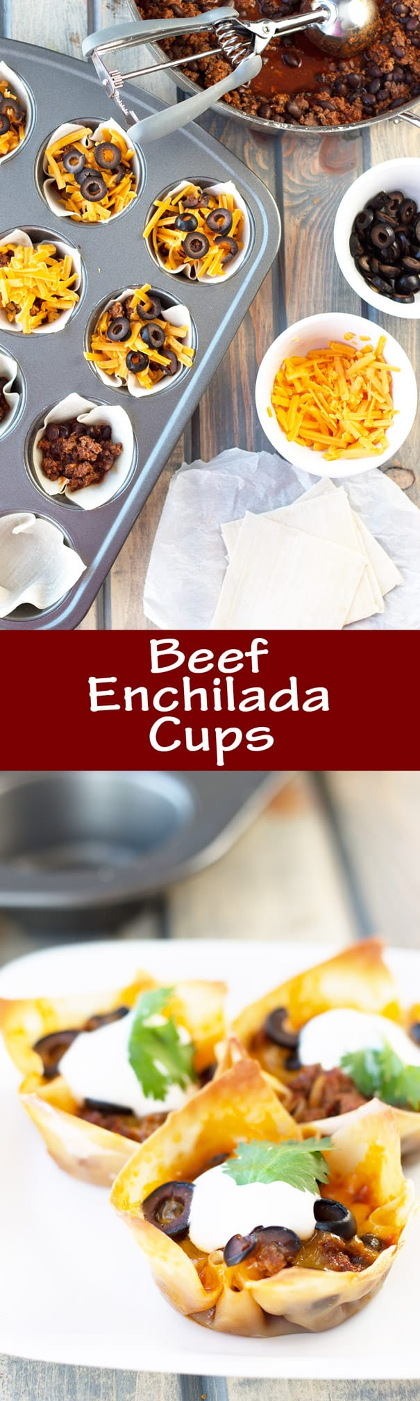Beef Enchilada Cups- an easy and oh so tasty game day appetizer. Filled with seasoned beef, black beans, cheddar, black olives and topped with creamy sour cream. | Countryside Cravings