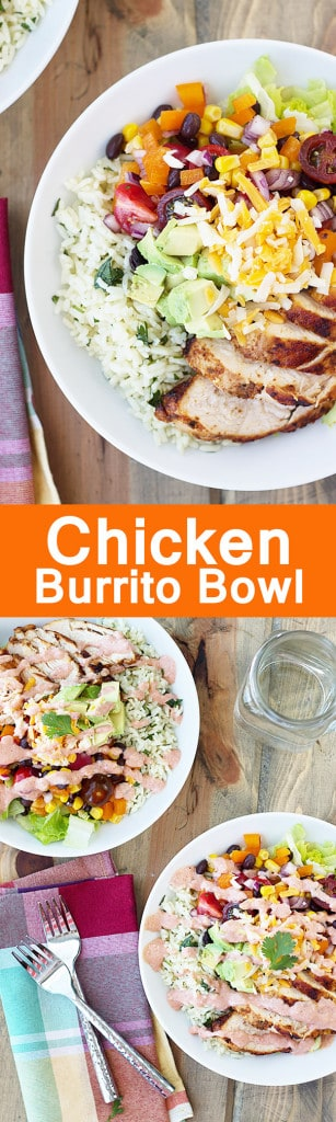 Chicken Burrito Bowl- My version of Chipolte's Chicken Burrito Bowl complete with cilantro lime rice and made with healthy everyday ingredients. | Countryside Cravings