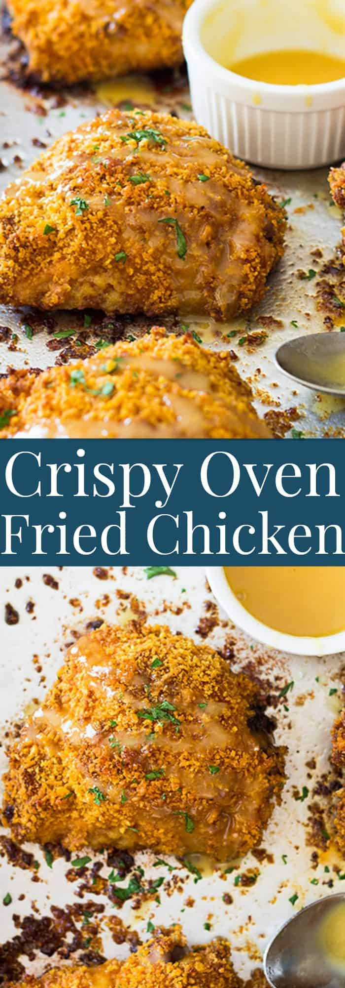 These Crispy Oven Fried Chicken Thighs are a great way to enjoy fried chicken in a healthier way! | www.countrysidecravings.com