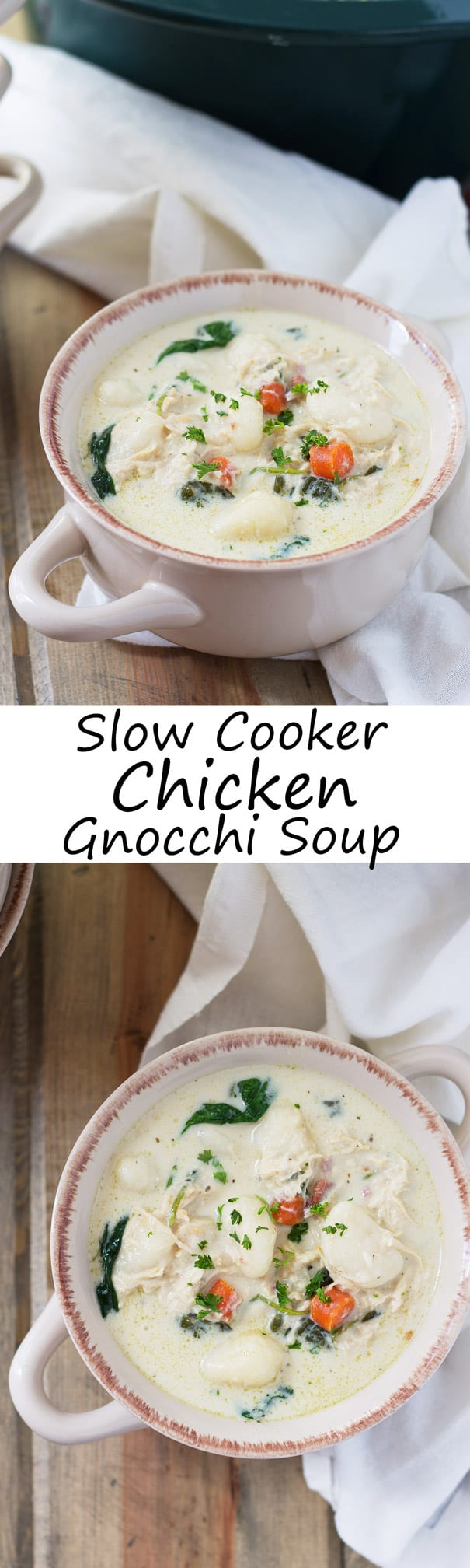 Slow Cooker Chicken and Gnocchi Soup- this wonderfully hearty and flavorful soup is a nice change of pace with its pillowy soft gnocchi and flavorful creamy broth. | Countryside Cravings