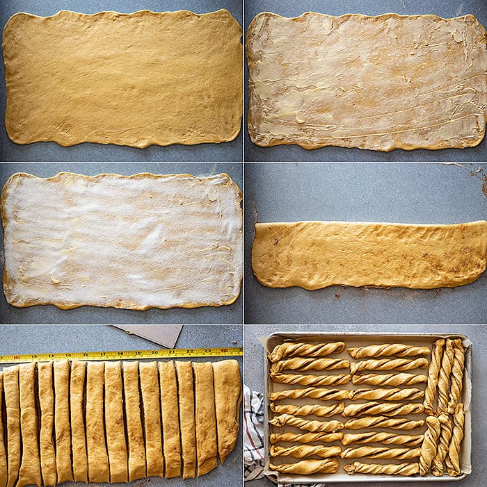 Six pictures showing how to roll the dough and shape into twists.
