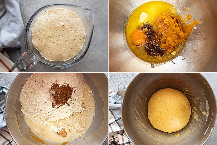 Four pictures showing how to make the dough.