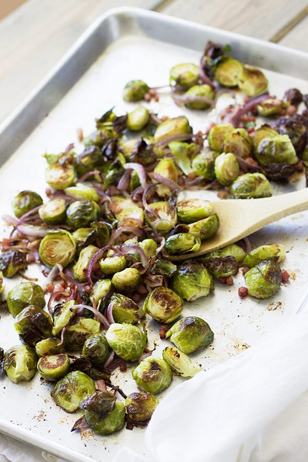 Roasted Brussel Sprouts with Ham and Onions- this is a quick and easy yet flavorful side dish! | countrysidecravings.com