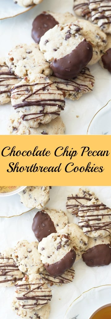 Chocolate Chip Pecan Shortbread Cookies- these buttery cookies are hard to resist! They are studded with mini chocolate chips and pecans and will delight both young and old. | countrysidecravings.com