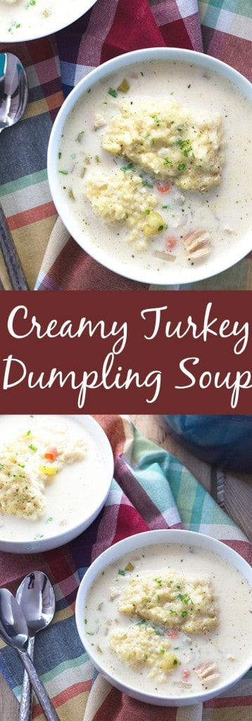 Creamy Turkey and Dumpling Soup- this is an easy soup to make after Thanksgiving. And the dumplings are tender and have a secret ingredient in them! | countrysidecravings.com
