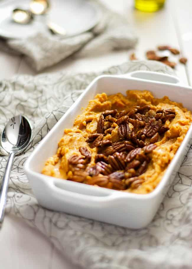 Lighter Smoked Gouda and Sweet Potato Casserole with Spiced Pecans