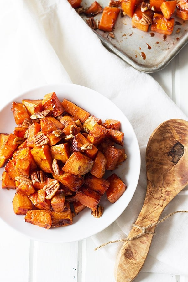 Maple Roasted Sweet Potatoes- these are lightly sweetened with maple ...