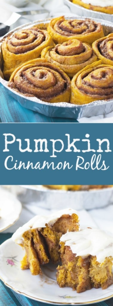 Pumpkin Cinnamon Rolls- a great way to enjoy your morning with these cinnamon rolls packed with pumpkin and spice and topped with a thick creamy layer of cream cheese frosting. | countrysidecravings.com