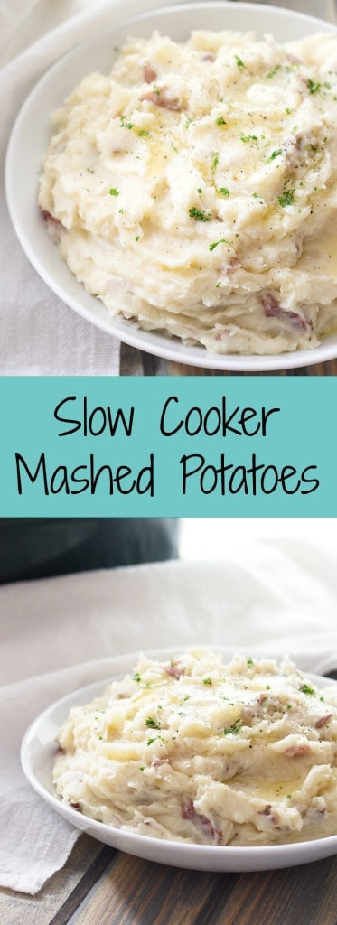 Slow Cooker Mashed Potatoes- this easy recipe takes 10 minutes of prep and only 5 wholesome ingredients! | countrysidecravings.com