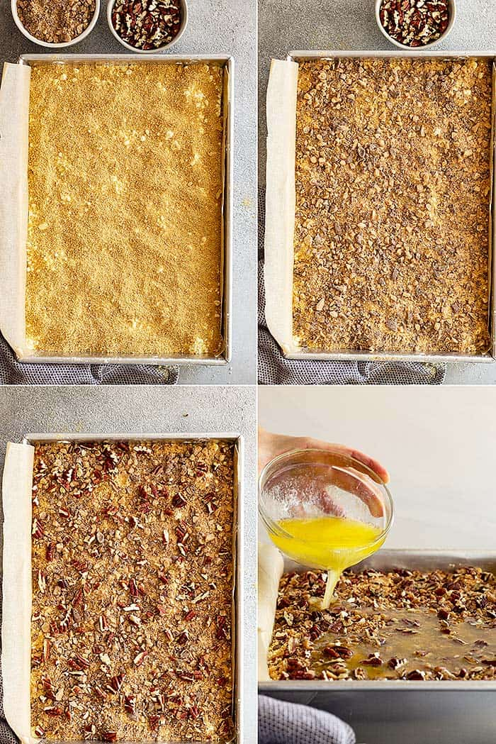 Four pictures showing all the different toppings being sprinkled on top before baking.