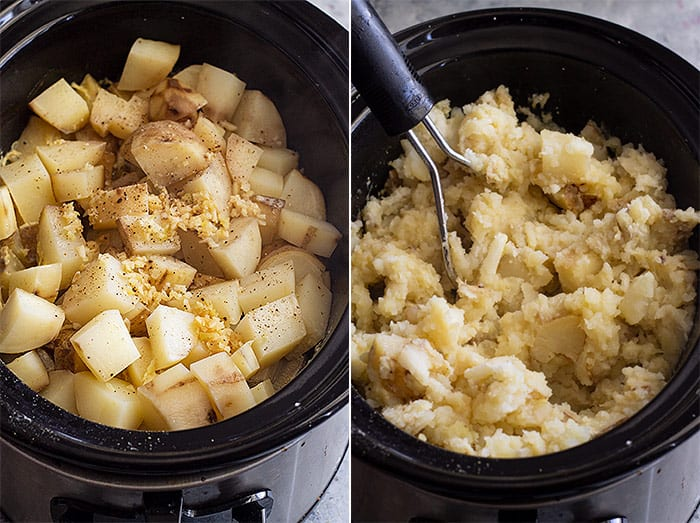 Pictures of slow cooker mashed potatoes just getting finished cooking and starting to mash.