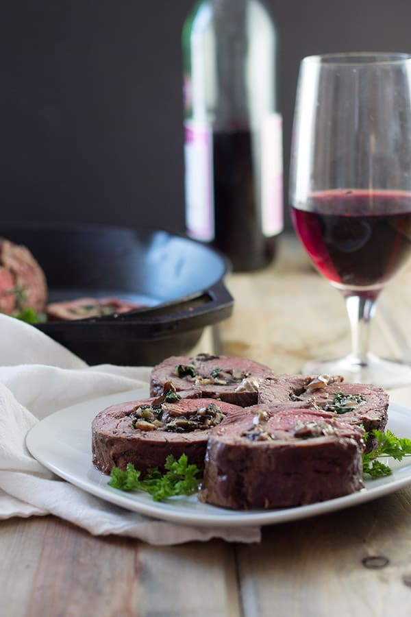 Mushroom and Blue Cheese Stuffed Flank Steak- this is a super easy recipe that is guaranteed to impress! | countrysidecravings.com