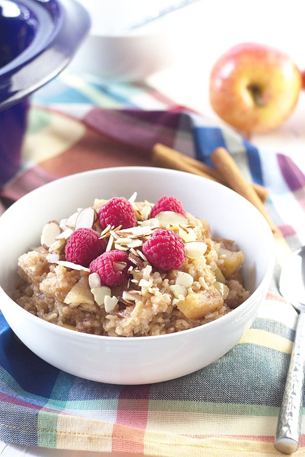 Slow Cooker Apple Cinnamon Breakfast Rice- a great way to start off you day and a nice change from the standard oatmeal. Studded with tender apples and spiced with cinnamon! | countrysidecravings.com