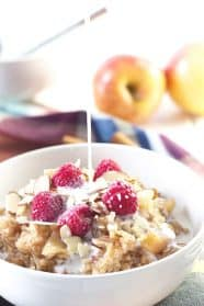 Slow Cooker Apple Cinnamon Breakfast Rice- a great way to start off you day and a nice change from the standard oatmeal. Studded with tender apples and spiced with cinnamon!   countrysidecravings.com