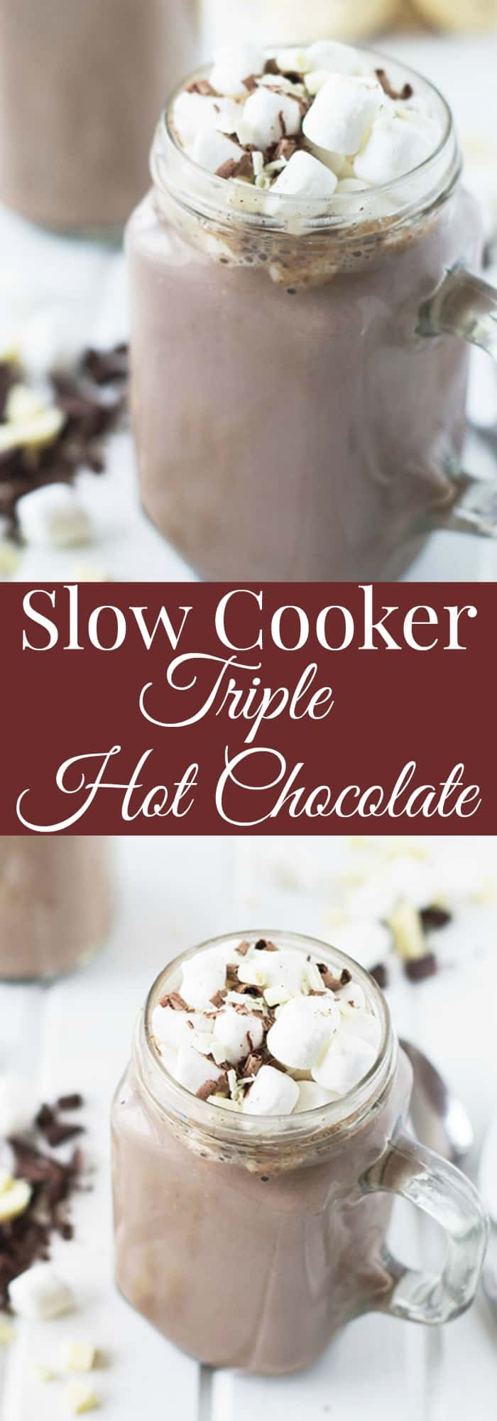 Slow Cooker Triple Hot Chocolate- easy and delicious hot chocolate made right in your slow cooker and with three kinds of chocolate! | countrysidecravings.com