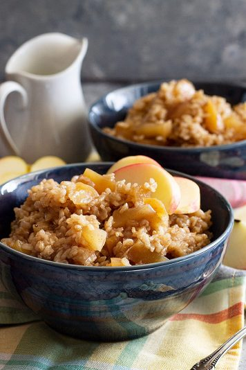 Large bowl of Slow Cooker Cinnamon Apple Breakfast Rice.
