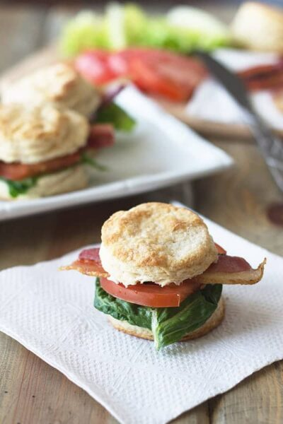 BLT Biscuit Sliders -perfect little sandwiches for entertaining and you can use store bought dough too! | countrysidecravings.com