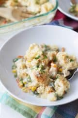 Chicken Pot Pie -with an easy crumble topping on top of creamy vegetables and chicken. | countrysidecravings.com