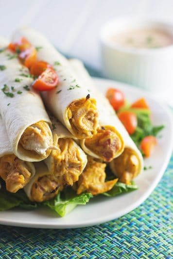 Chicken Taquitos -creamy and made easy with rotisserie chicken! | countrysidecravings.com
