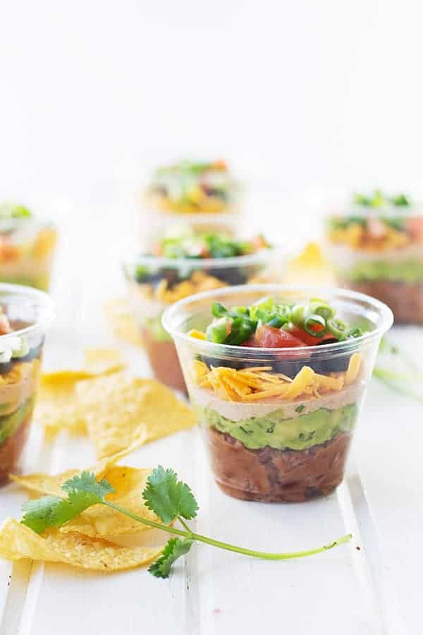 Individual Seven Layer Cups -no more double dippers, everyone can have their own cup with dip!   countrysidecravings.com