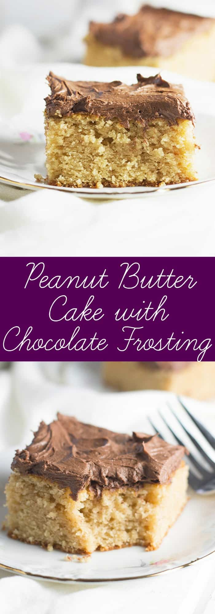 Peanut Butter Cake with Chocolate Frosting- this is an easy cake that is full of peanut butter flavor and topped with a rich and creamy chocolate frosting! | countrysidecravings.com