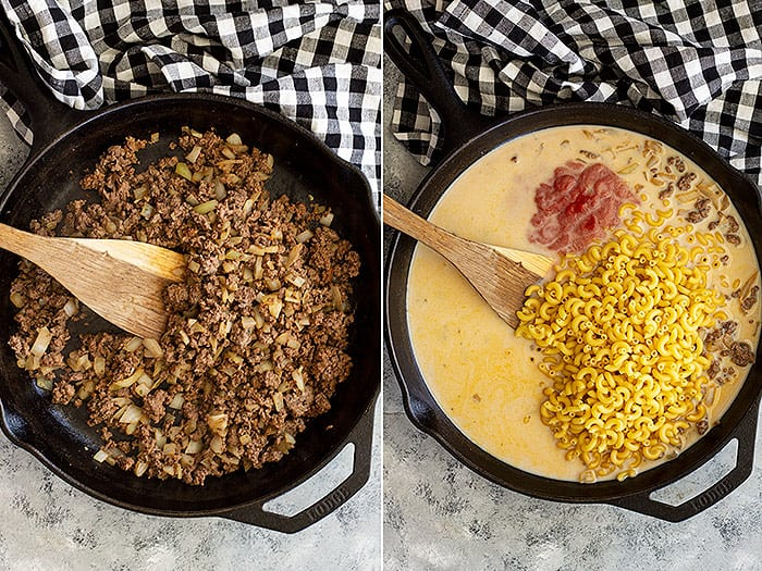 Pictures of browned ground beef and adding in the pasta.