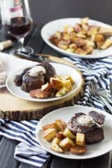 Filet Mignon with Red Wine Compound Butter -this is a super easy yet impressive steak dinner to serve to that special someone! | countrysidecravings.com