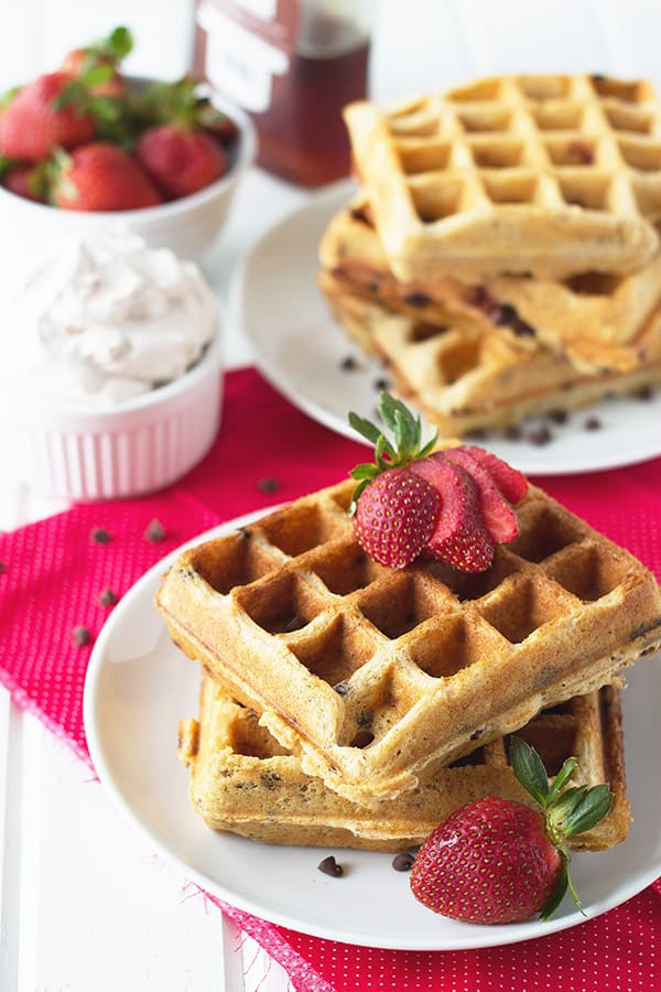 Strawberry Chocolate Chip Waffles -these easy waffles are great for a special breakfast in bed! | countrysidecravings.com