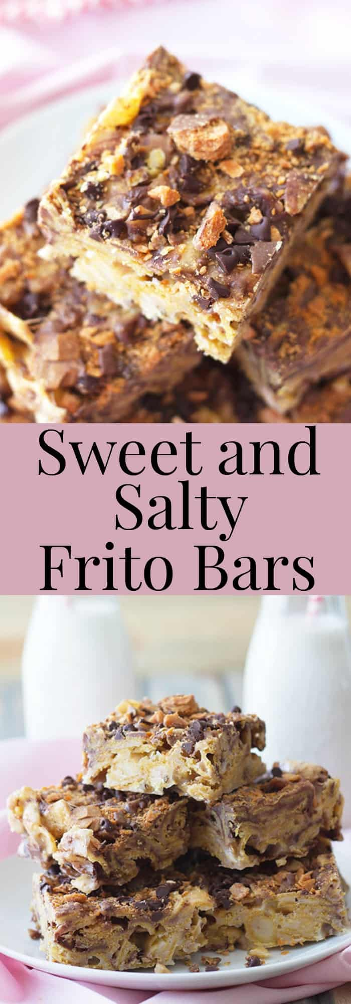 Sweet and Salty Frito Chip Bars -a perfect sweet and salty combo with chocolate chips and butterfinger pieces. | countrysidecravings.com