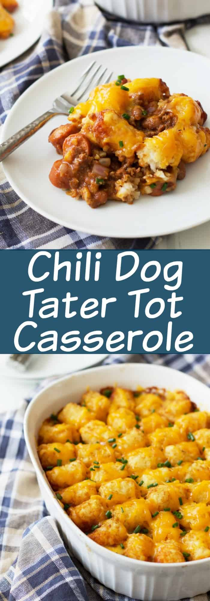 Chili Dog Tater Tot Casserole is a twist on a family favorite recipe. Chili, cheese, hot dogs, tater tots....need I say more?!?! | www.countrysidecravings.com