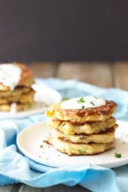 Easy Potato Scallion Pancakes -these Irish potato pancakes are made easy using leftover mashed potatoes and frozen hashbrowns. | www.countrysidecravings.com